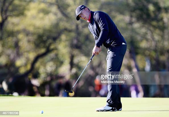 Jordan Spieth putts on the 12th hole during round two of the Valero Texas Open at TPC San Antonio ATT Oaks Course on March 27 2015 in San Antonio...