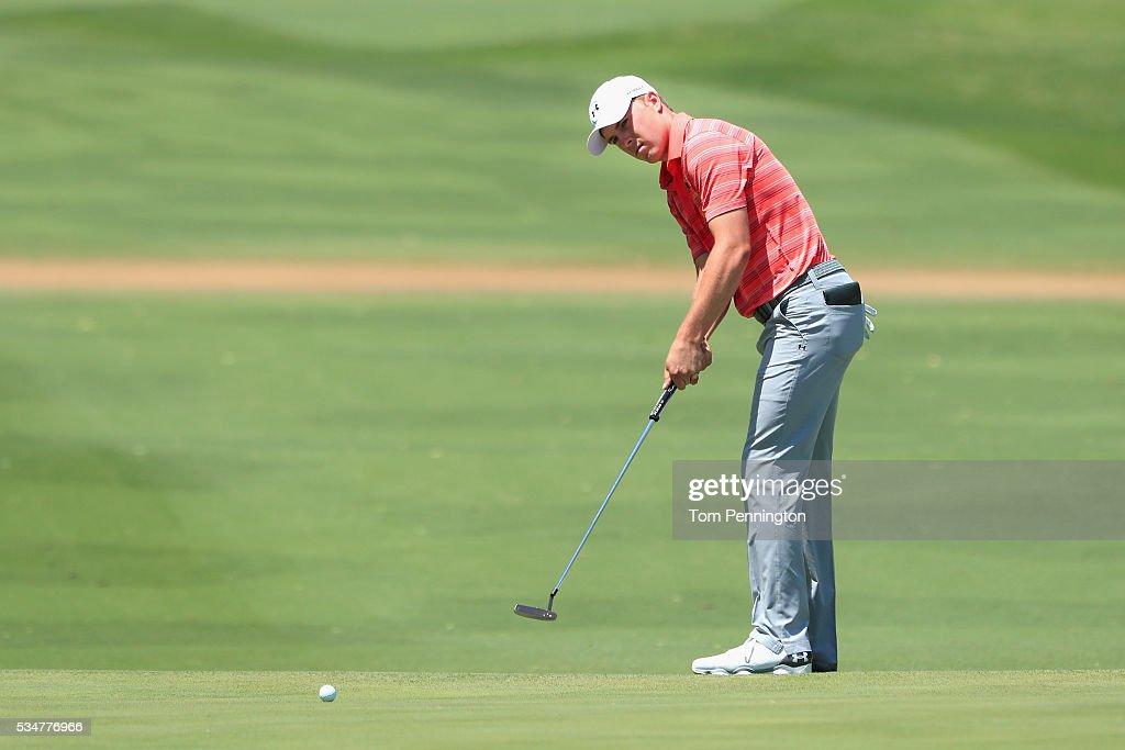 <a gi-track='captionPersonalityLinkClicked' href=/galleries/search?phrase=Jordan+Spieth&family=editorial&specificpeople=5440480 ng-click='$event.stopPropagation()'>Jordan Spieth</a> putts on the 14th green during the Second Round of the DEAN & DELUCA Invitational at Colonial Country Club on May 27, 2016 in Fort Worth, Texas.