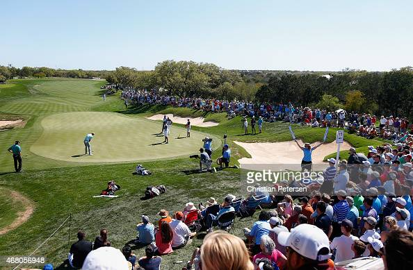 Jordan Spieth putts on the 15th green during the final round of the Valero Texas Open at TPC San Antonio ATT Oaks Course on March 29 2015 in San...