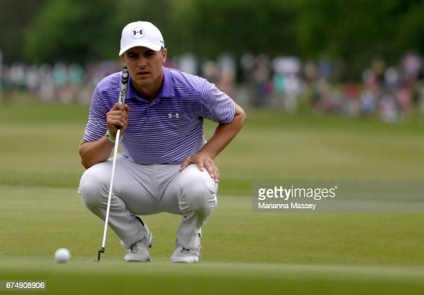 Jordan Spieth putts on the 18th hole during the third round of the Zurich Classic at TPC Louisiana on April 29 2017 in Avondale Louisiana