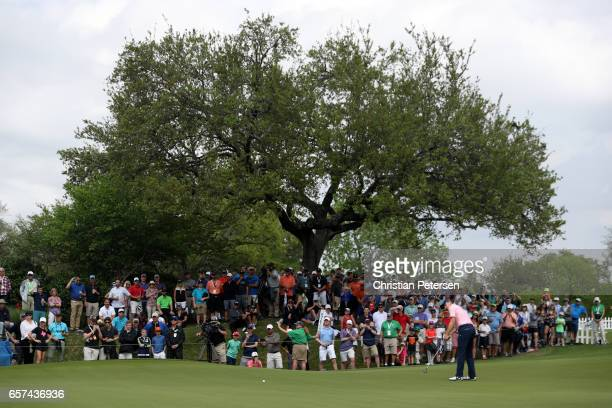 Jordan Spieth putts on the 18th hole of his match during round three of the World Golf ChampionshipsDell Technologies Match Play at the Austin...