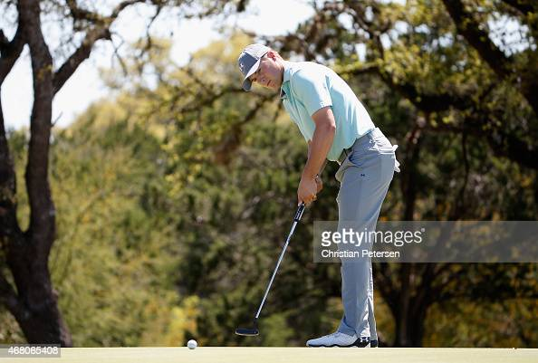 Jordan Spieth putts on the fifth hole during the final round of the Valero Texas Open at TPC San Antonio ATT Oaks Course on March 29 2015 in San...