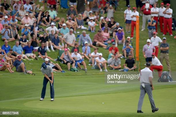 Jordan Spieth putts the ball on the 17th green during Round Two of the ATT Byron Nelson at the TPC Four Seasons Resort Las Colinas on May 19 2017 in...