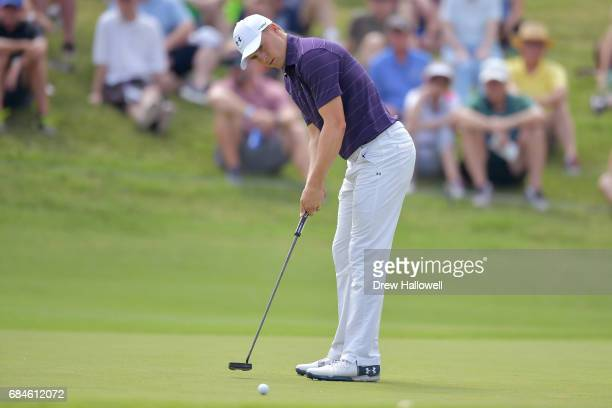 Jordan Spieth putts the ball on the second green during Round One of the ATT Byron Nelson at the TPC Four Seasons Resort Las Colinas on May 18 2017...