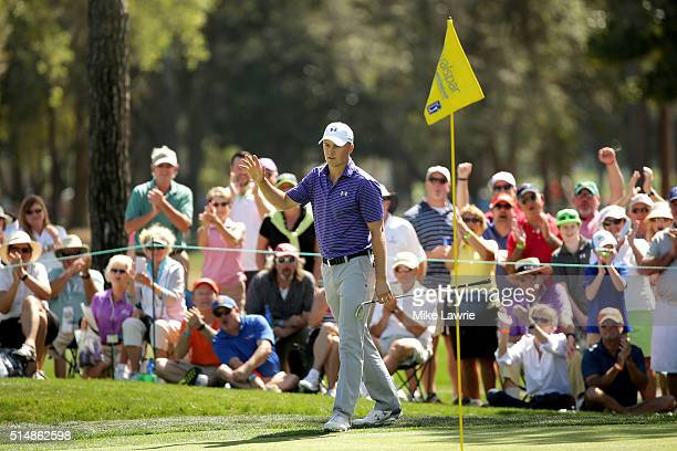 Jordan Spieth reacts after chipping in for birdie on the fifth green during the second round of the Valspar Championship at Innisbrook Resort...