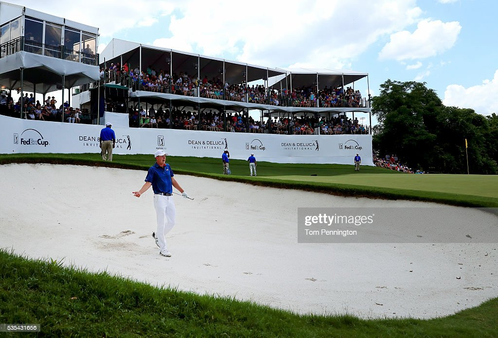 Jordan Spieth reacts after hittng a shot out of the bunker on the 13th hole during the Final Round of the DEAN DELUCA Invitational at Colonial...