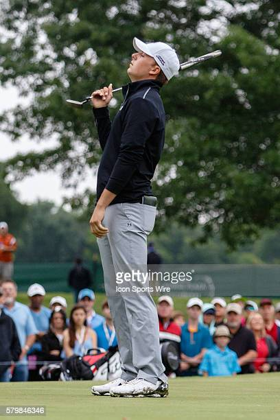 Jordan Spieth reacts after leaving his putt short on during the second round of the Crowne Plaza Invitational at Colonial in Fort Worth TX