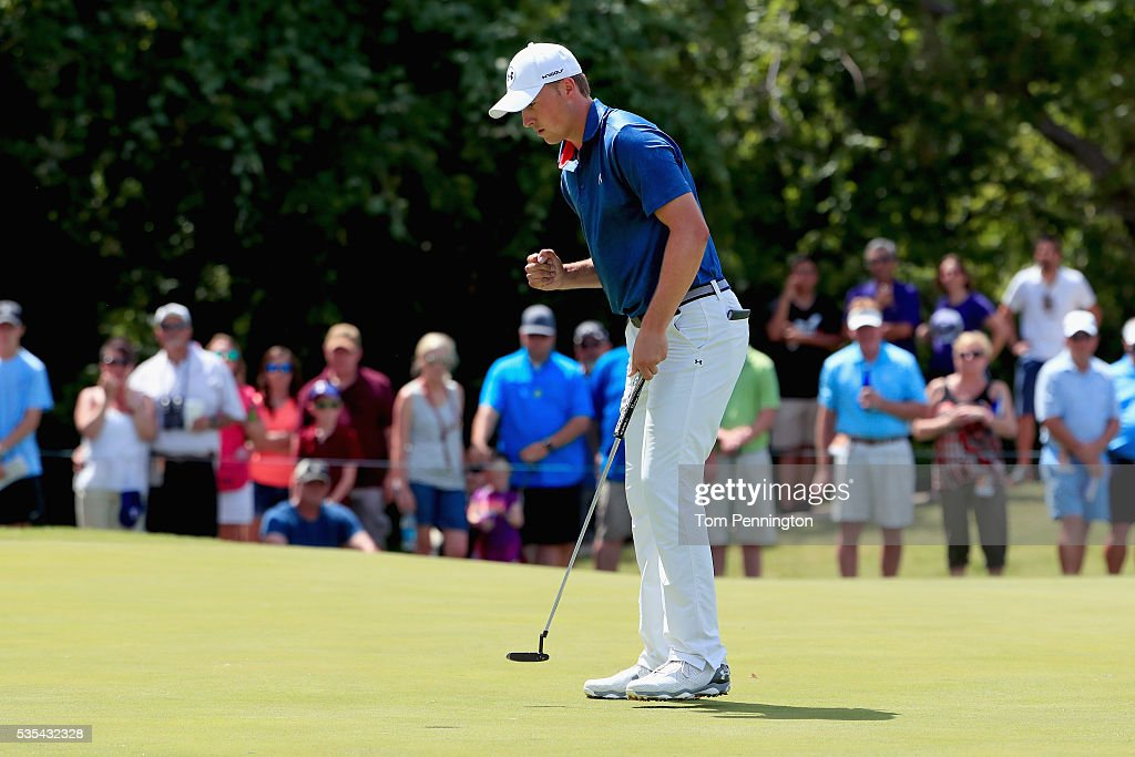 <a gi-track='captionPersonalityLinkClicked' href=/galleries/search?phrase=Jordan+Spieth&family=editorial&specificpeople=5440480 ng-click='$event.stopPropagation()'>Jordan Spieth</a> reacts on the 12th green during the Final Round of the DEAN & DELUCA Invitational at Colonial Country Club on May 29, 2016 in Fort Worth, Texas.