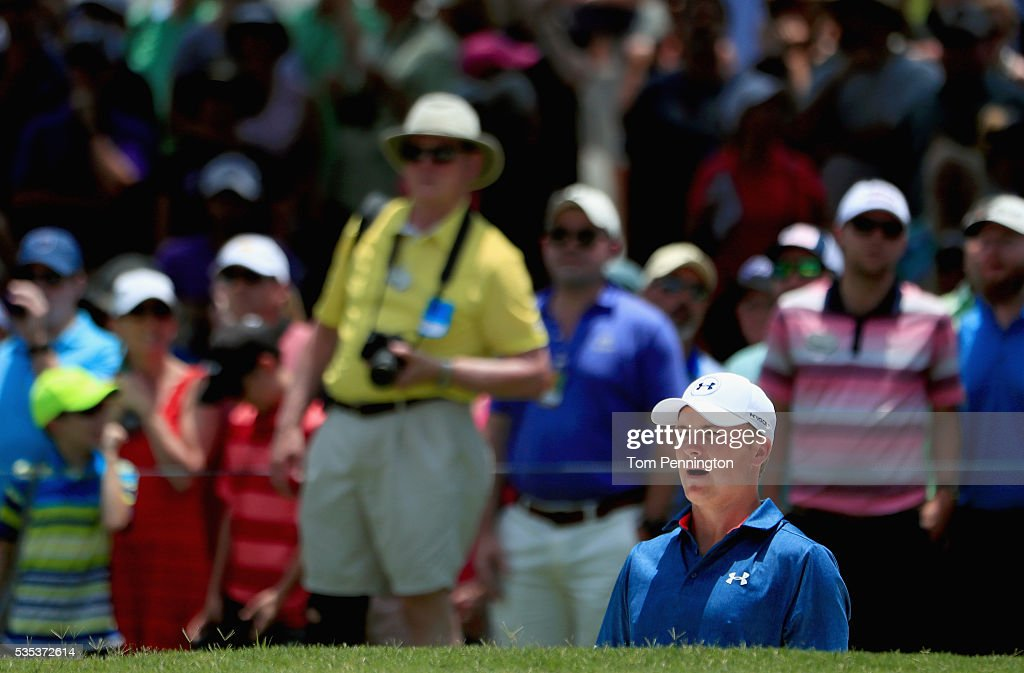 <a gi-track='captionPersonalityLinkClicked' href=/galleries/search?phrase=Jordan+Spieth&family=editorial&specificpeople=5440480 ng-click='$event.stopPropagation()'>Jordan Spieth</a> reacts to a bunker shot on the fifth hole during the Final Round of the DEAN & DELUCA Invitational at Colonial Country Club on May 29, 2016 in Fort Worth, Texas.