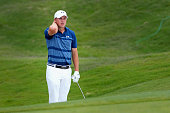 Jordan Spieth reacts to a chip on the fifth hole during the Final Round at ATT Byron Nelson on May 22 2016 in Irving Texas