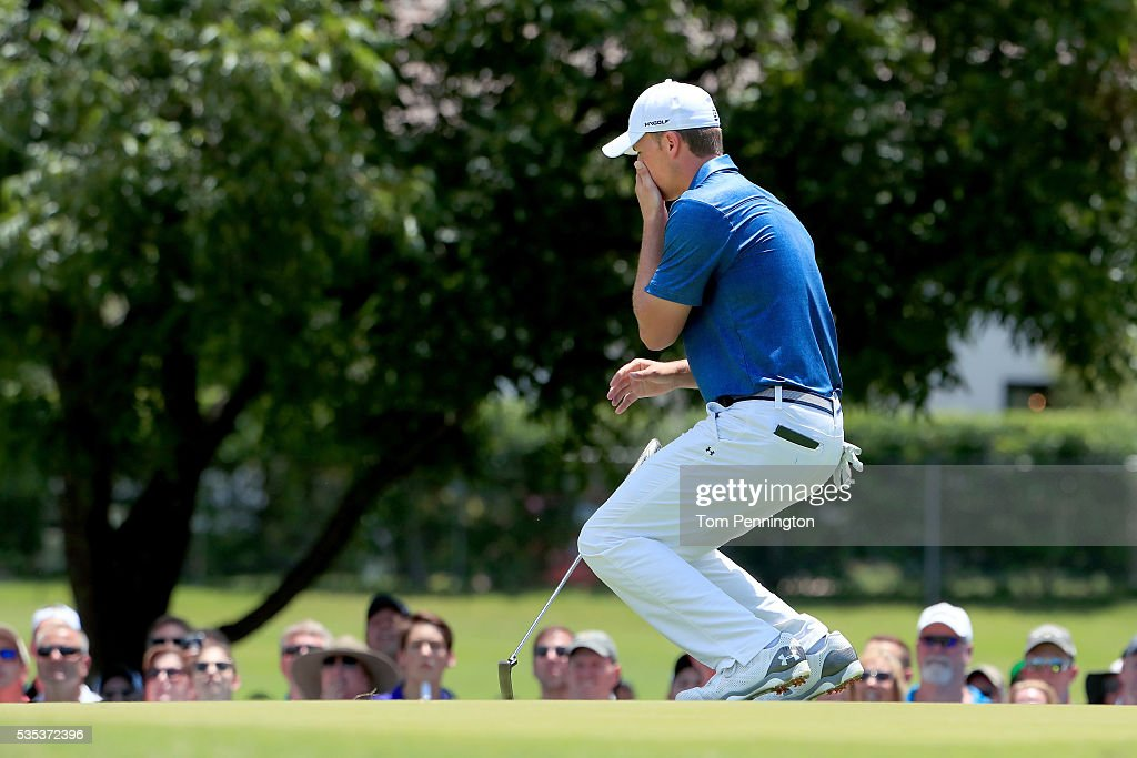 <a gi-track='captionPersonalityLinkClicked' href=/galleries/search?phrase=Jordan+Spieth&family=editorial&specificpeople=5440480 ng-click='$event.stopPropagation()'>Jordan Spieth</a> reacts to a missed birdie putt on the sixth green during the Final Round of the DEAN & DELUCA Invitational at Colonial Country Club on May 29, 2016 in Fort Worth, Texas.