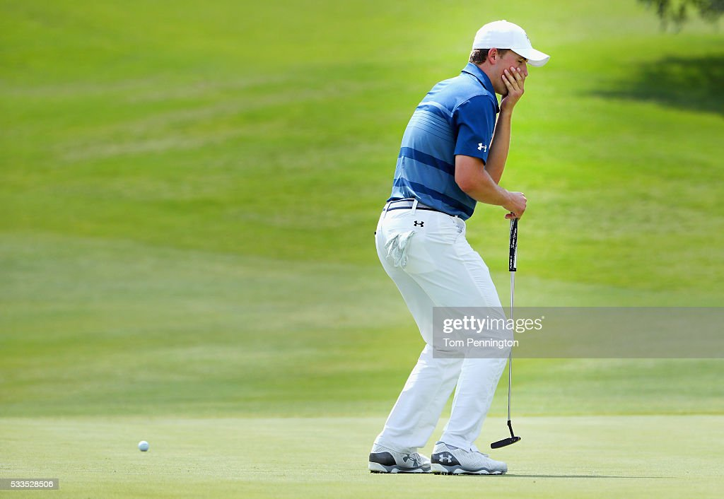 Jordan Spieth reacts to a missed putt on the 12th green during the Final Round at AT&T Byron Nelson on May 22, 2016 in Irving, Texas.