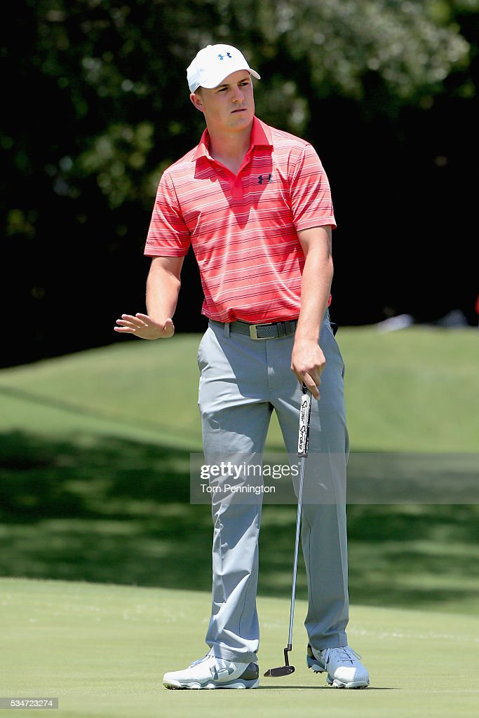 <a gi-track='captionPersonalityLinkClicked' href=/galleries/search?phrase=Jordan+Spieth&family=editorial&specificpeople=5440480 ng-click='$event.stopPropagation()'>Jordan Spieth</a> reacts to a putt on the 13th green during the Second Round of the DEAN & DELUCA Invitational at Colonial Country Club on May 27, 2016 in Fort Worth, Texas.