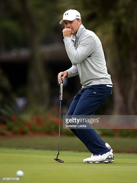 Jordan Spieth reacts to a putt on the 13th hole during the second round of the RBC Heritage at Harbour Town Golf Links on April 17 2015 in Hilton...