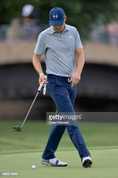 Jordan Spieth reacts to a putt on the 14th green during Round Two of the ATT Byron Nelson at the TPC Four Seasons Resort Las Colinas on May 19 2017...