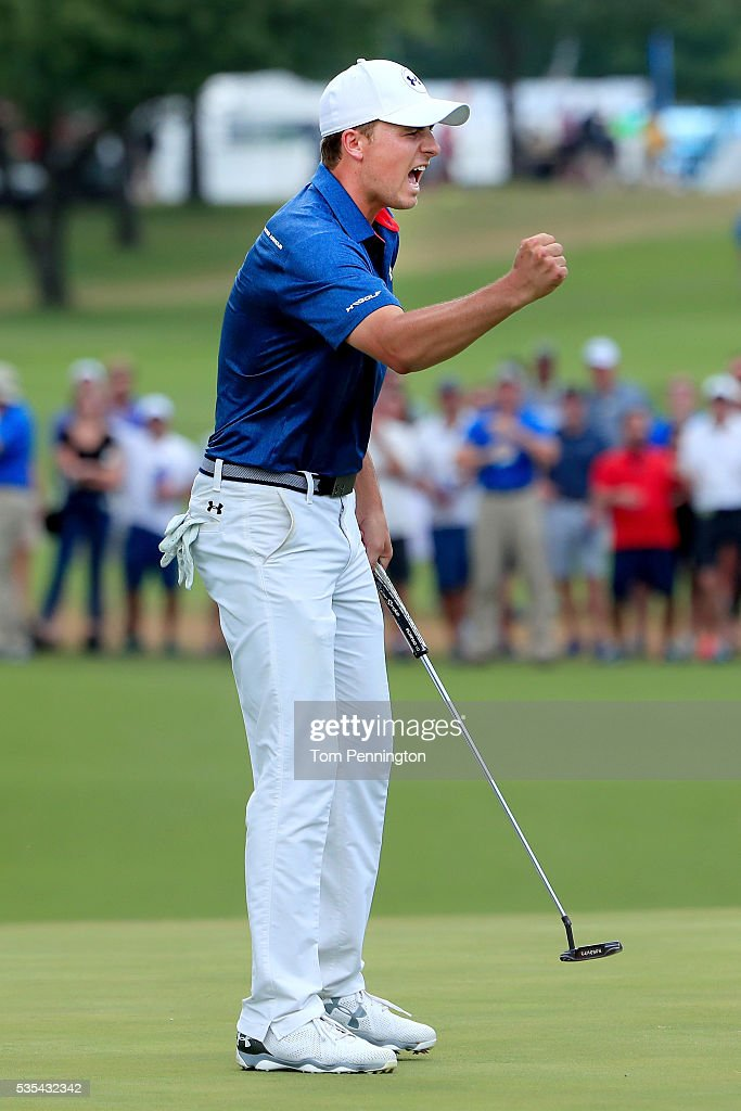 <a gi-track='captionPersonalityLinkClicked' href=/galleries/search?phrase=Jordan+Spieth&family=editorial&specificpeople=5440480 ng-click='$event.stopPropagation()'>Jordan Spieth</a> reacts to a putt on the 14th green during the Final Round of the DEAN & DELUCA Invitational at Colonial Country Club on May 29, 2016 in Fort Worth, Texas.