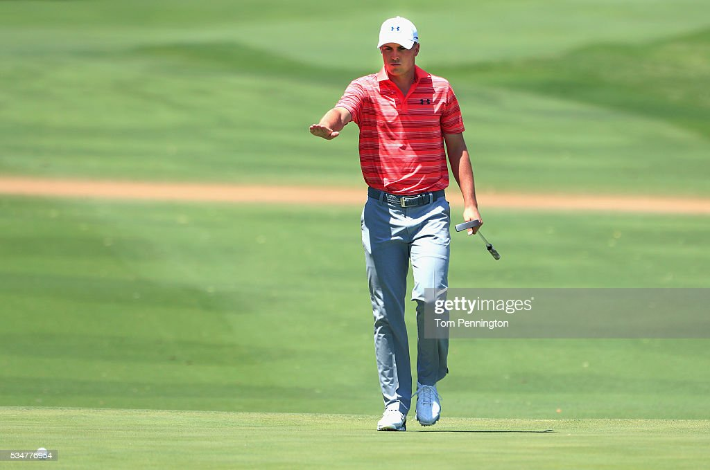<a gi-track='captionPersonalityLinkClicked' href=/galleries/search?phrase=Jordan+Spieth&family=editorial&specificpeople=5440480 ng-click='$event.stopPropagation()'>Jordan Spieth</a> reacts to a putt on the 14th green during the Second Round of the DEAN & DELUCA Invitational at Colonial Country Club on May 27, 2016 in Fort Worth, Texas.