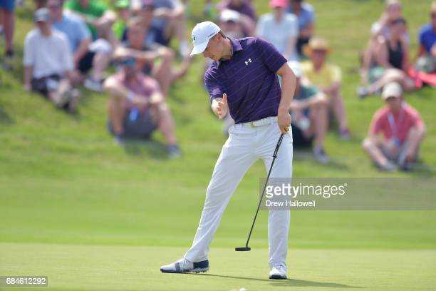 Jordan Spieth reacts to a putt on the second green during Round One of the ATT Byron Nelson at the TPC Four Seasons Resort Las Colinas on May 18 2017...