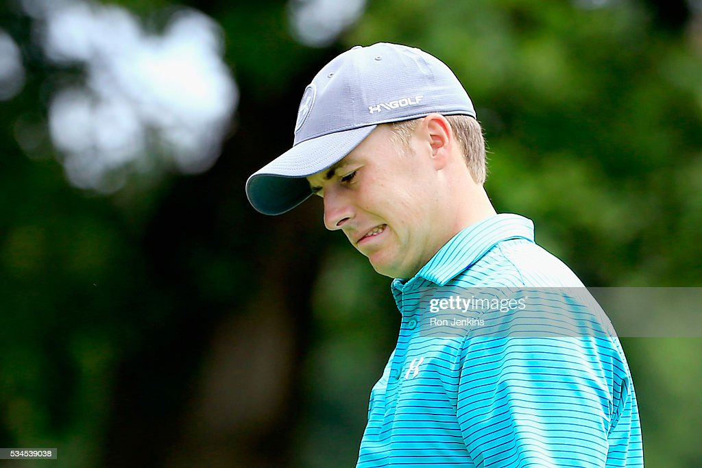 <a gi-track='captionPersonalityLinkClicked' href=/galleries/search?phrase=Jordan+Spieth&family=editorial&specificpeople=5440480 ng-click='$event.stopPropagation()'>Jordan Spieth</a> reacts to a putt on the seventh green during the First Round of the DEAN & DELUCA Invitational at Colonial Country Club on May 26, 2016 in Fort Worth, Texas.