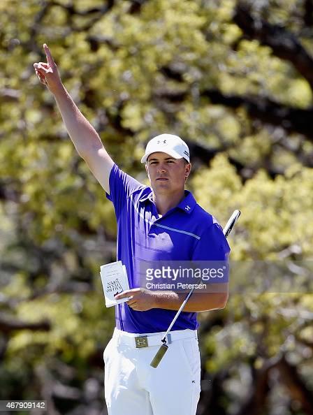 Jordan Spieth reacts to Brendan Steele chipping in on the sixth green during round three of the Valero Texas Open at TPC San Antonio ATT Oaks Course...