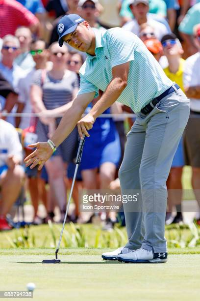 Jordan Spieth reacts to his putt on during the second round of the Dean Deluca Invitational on May 26 2017 at Colonial Country Club in Fort Worth TX