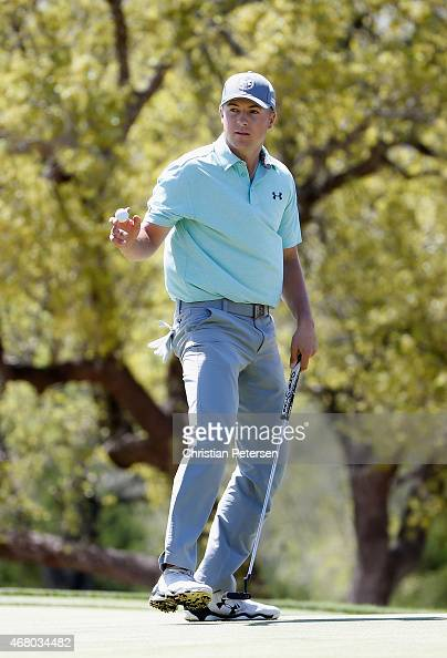 Jordan Spieth reacts to his putt on the fifth hole during the final round of the Valero Texas Open at TPC San Antonio ATT Oaks Course on March 29...