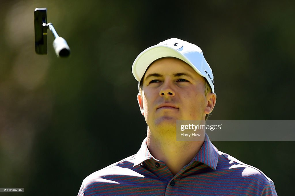 Jordan Spieth reacts to making a par putt on the eighth hole during round two of the Northern Trust Open at Riviera Country Club on February 19 2016...
