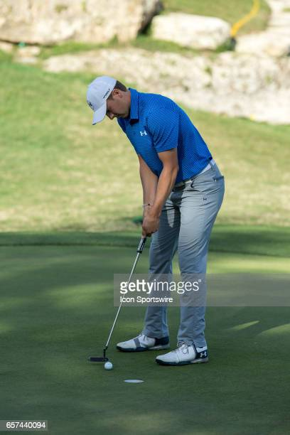 Jordan Spieth sinks his birdie on the par 3 eleventh hole during the second round of the WGCDell Technologies Match Play on March 23 at Austin...