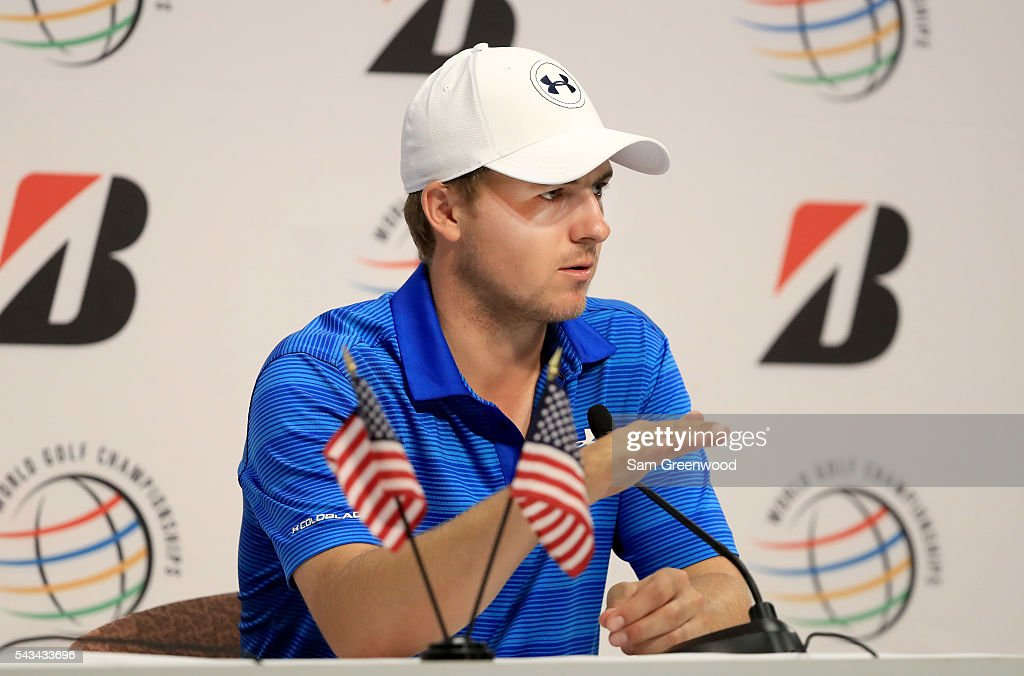 <a gi-track='captionPersonalityLinkClicked' href=/galleries/search?phrase=Jordan+Spieth&family=editorial&specificpeople=5440480 ng-click='$event.stopPropagation()'>Jordan Spieth</a> speaks to the media prior to the World Golf Championships-Bridgestone Invitational at Firestone Country Club South Course on June 28, 2016 in Akron, Ohio.