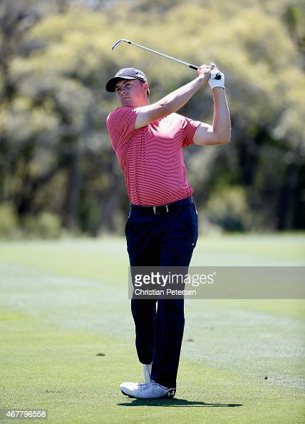 Jordan Spieth takes his second shot on the ninth hole during round two of the Valero Texas Open at TPC San Antonio ATT Oaks Course on March 27 2015...