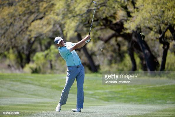 Jordan Spieth takes his second shot on the sixth hole during the final round of the Valero Texas Open at TPC San Antonio ATT Oaks Course on March 29...