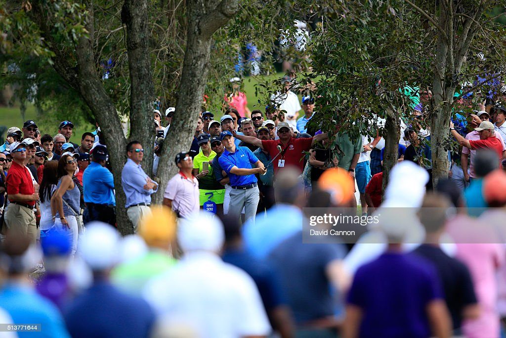 Jordan Spieth takes his shot on the 10th hole during the second round of the World Golf ChampionshipsCadillac Championship at Trump National Doral...