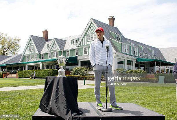 Jordan Spieth talks to the media after after playing 18 at Oakmont Country Club on May 4 2016 in Oakmont Pennsylvania