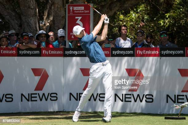 Jordan Spieth tees off at the final round of the 102nd Australian Open Golf Championship at The Australian Golf Club in Sydney on November 26 2017
