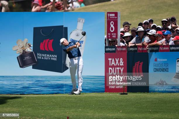 Jordan Spieth tees off on the eighth hole at the final round of the 102nd Australian Open Golf Championship at The Australian Golf Club in Sydney on...