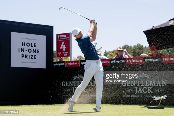 Jordan Spieth tees off on the forth hole at the final round of the 102nd Australian Open Golf Championship at The Australian Golf Club in Sydney on...