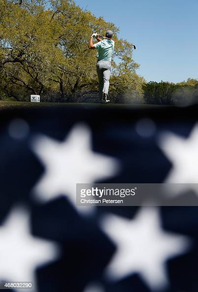 Jordan Spieth tees off on the sixth hole during the final round of the Valero Texas Open at TPC San Antonio ATT Oaks Course on March 29 2015 in San...