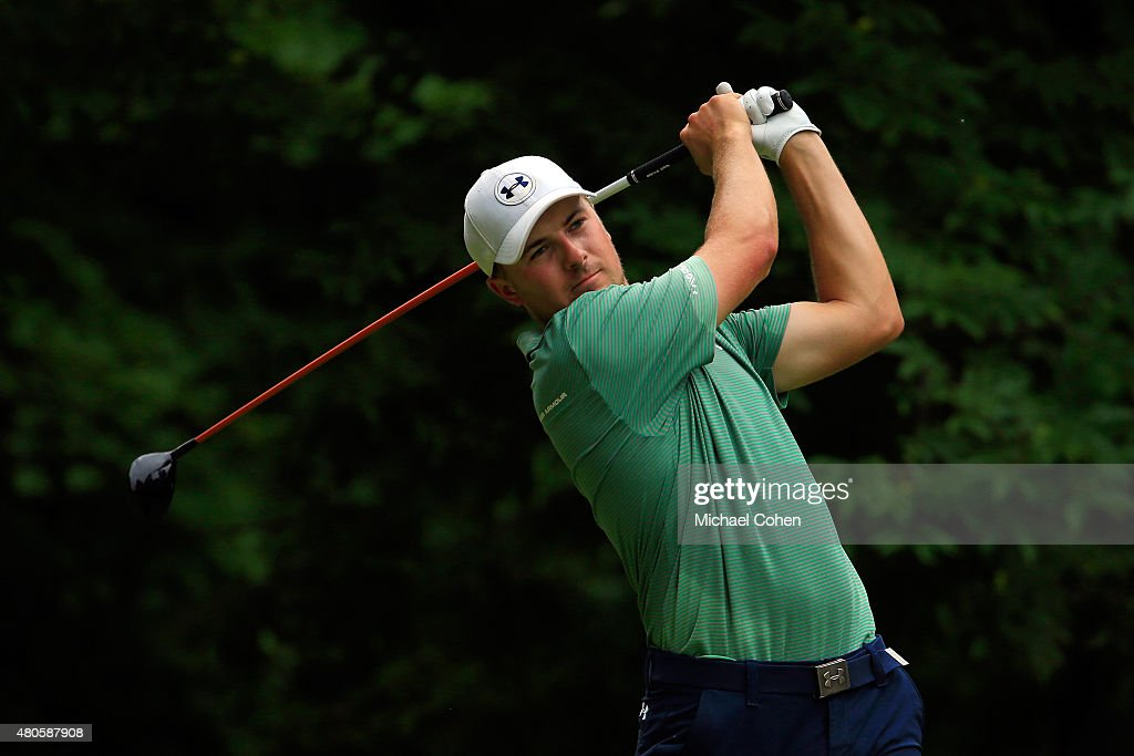 Jordan Spieth tees off on the sixth hole during the final round of the John Deere Classic held at TPC Deere Run on July 12, 2015 in Silvis, Illinois.