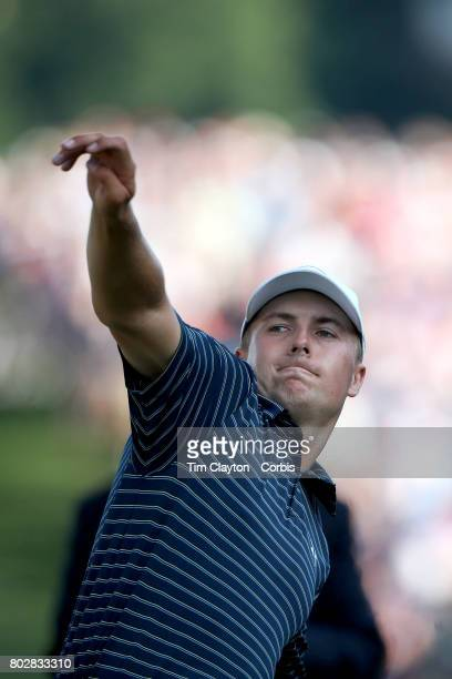 Jordan Spieth throws the ball into the crowd after winning the Travelers Championship Tournament at the TPC River Highlands Golf Course on June 25th...