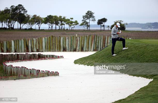 Jordan Spieth waits to putt 17th hole during the second round of the RBC Heritage at Harbour Town Golf Links on April 17 2015 in Hilton Head Island...