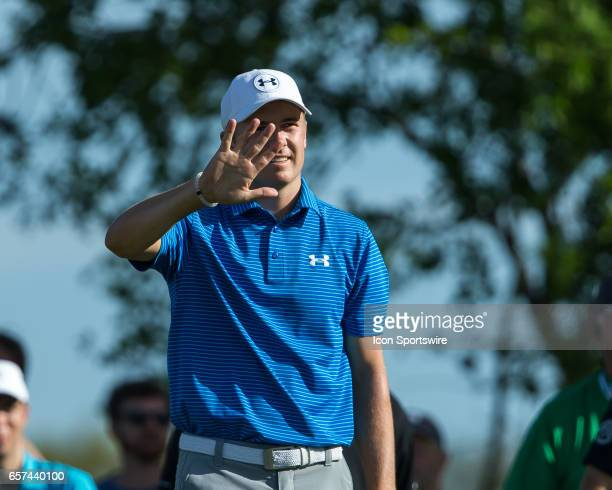 Jordan Spieth waives at his ball on the par 3 eleventh wanting it to stay near the flag stick during the second round of the WGCDell Technologies...