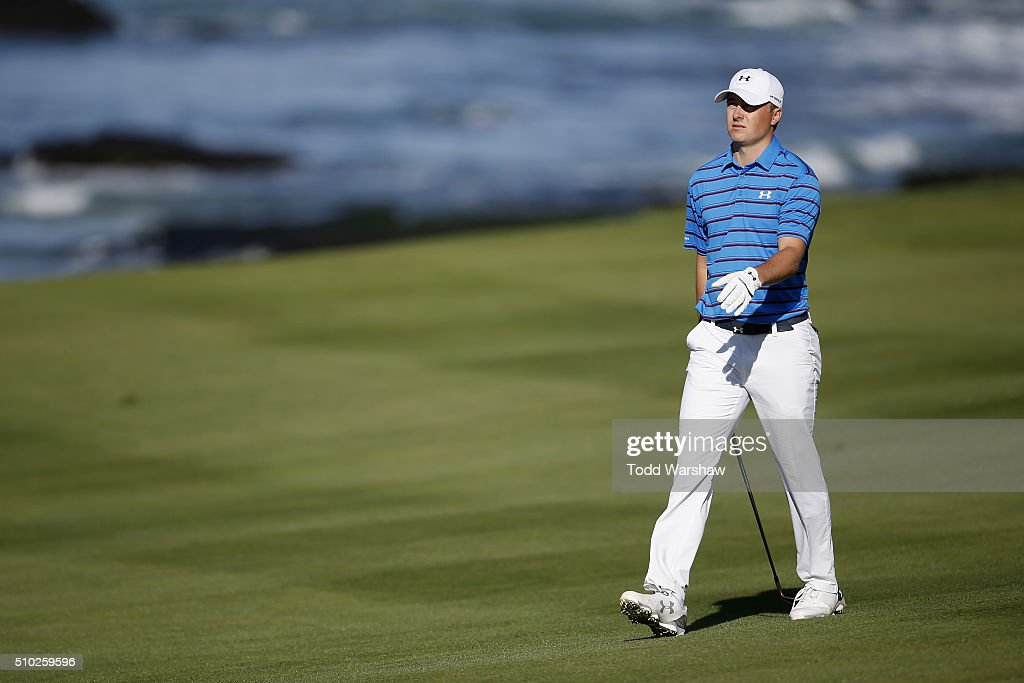 <a gi-track='captionPersonalityLinkClicked' href=/galleries/search?phrase=Jordan+Spieth&family=editorial&specificpeople=5440480 ng-click='$event.stopPropagation()'>Jordan Spieth</a> walks down the 10th fairway during the final round of the AT&T Pebble Beach National Pro-Am at the Pebble Beach Golf Links on February 14, 2016 in Pebble Beach, California.