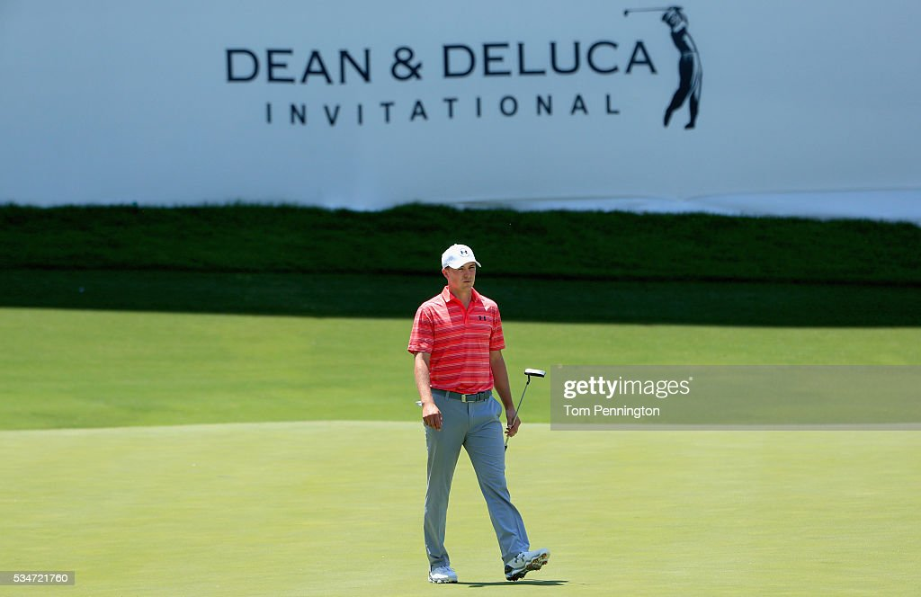 Jordan Spieth walks off the green after making a putt for birdie on the 13th hole during the Second Round of the DEAN DELUCA Invitational at Colonial...