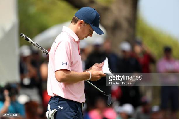 Jordan Spieth walks on the 18th hole of his match during round three of the World Golf ChampionshipsDell Technologies Match Play at the Austin...