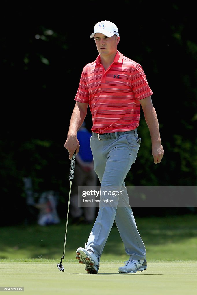 <a gi-track='captionPersonalityLinkClicked' href=/galleries/search?phrase=Jordan+Spieth&family=editorial&specificpeople=5440480 ng-click='$event.stopPropagation()'>Jordan Spieth</a> walks onto the 11th green during the Second Round of the DEAN & DELUCA Invitational at Colonial Country Club on May 27, 2016 in Fort Worth, Texas.