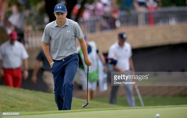 Jordan Spieth walks onto the 14th green during Round Two of the ATT Byron Nelson at the TPC Four Seasons Resort Las Colinas on May 19 2017 in Irving...