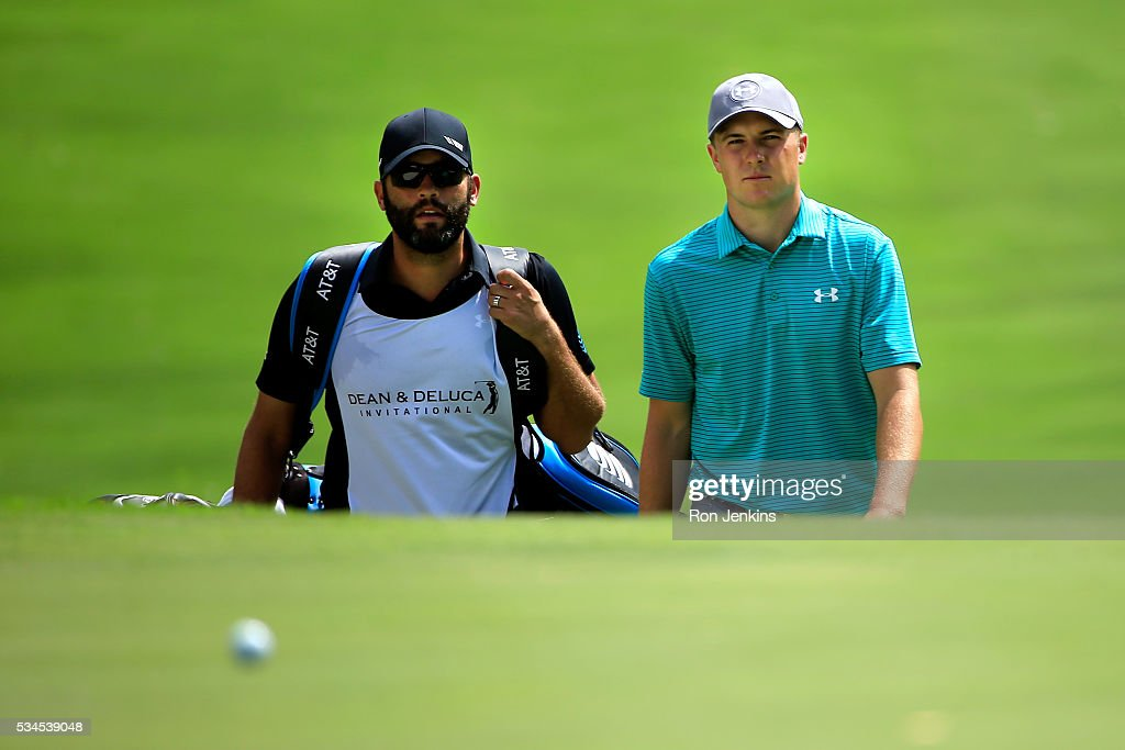 <a gi-track='captionPersonalityLinkClicked' href=/galleries/search?phrase=Jordan+Spieth&family=editorial&specificpeople=5440480 ng-click='$event.stopPropagation()'>Jordan Spieth</a> walks with his caddie, <a gi-track='captionPersonalityLinkClicked' href=/galleries/search?phrase=Michael+Greller&family=editorial&specificpeople=11131491 ng-click='$event.stopPropagation()'>Michael Greller</a>, on the seventh hole during the First Round of the DEAN & DELUCA Invitational at Colonial Country Club on May 26, 2016 in Fort Worth, Texas.