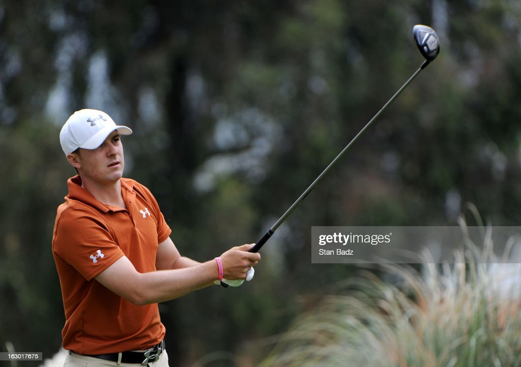 <a gi-track='captionPersonalityLinkClicked' href=/galleries/search?phrase=Jordan+Spieth&family=editorial&specificpeople=5440480 ng-click='$event.stopPropagation()'>Jordan Spieth</a> watches his drive on the second hole during the final round of the Colombia Championship at Country Club de Bogota on March 3, 2013 in Bogota, Colombia.