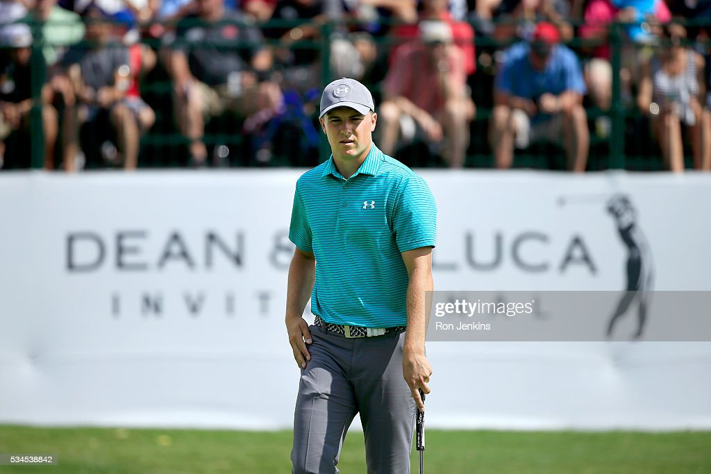 <a gi-track='captionPersonalityLinkClicked' href=/galleries/search?phrase=Jordan+Spieth&family=editorial&specificpeople=5440480 ng-click='$event.stopPropagation()'>Jordan Spieth</a> watches his putt for birdie on the ninth green during the First Round of the DEAN & DELUCA Invitational at Colonial Country Club on May 26, 2016 in Fort Worth, Texas.