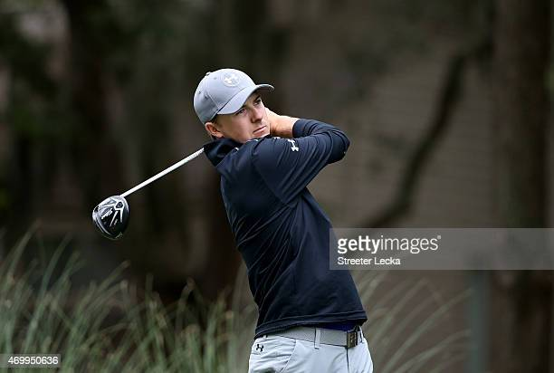 Jordan Spieth watches his tee shot on the second hole during the first round of the RBC Heritage at Harbour Town Golf Links on April 16 2015 in...